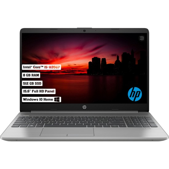 "HP 250 G8 Intel Core I5 1135G7 8GB 512GB SSD Windows 10 Home 15.6"" FHD Taşınabilir Bilgisayar 34N77ES"