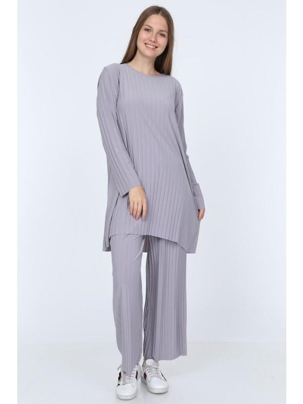 İlmek Moda Kadın Gri Pantolon Tunik Piliseli Ikili Takım 5219