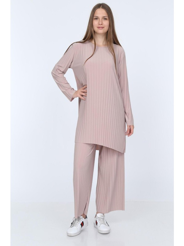Kadın Vizon Pantolon Tunik Piliseli Ikili Takım 5219
