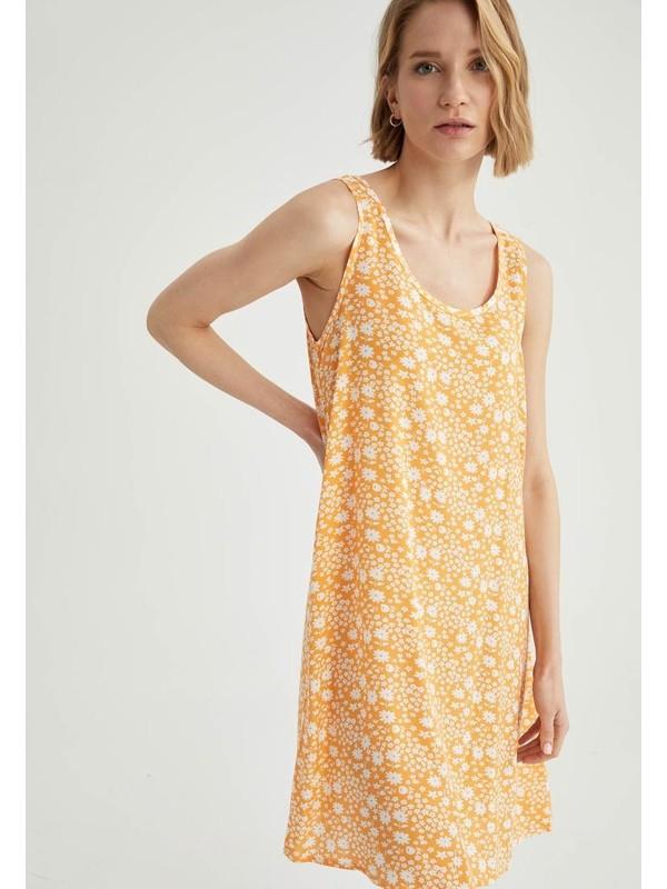 DeFacto Çiçek Desenli Relax Fit Kalın Askılı Mini Elbise
