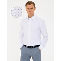 Pierre Cardin Lacivert Detaylı Beyaz Slim Fit Gömlek 50240453-VR033