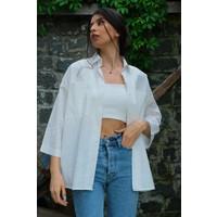 Abbra Kadın Çift Cepli Oversize Kısa Kollu Keten Gömlek