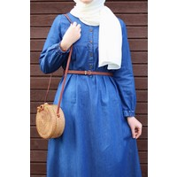 İlkimay Robalı Patlı Kot Elbise - Mavi