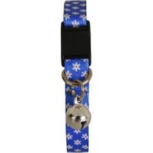 Pet Tag Art Mavi Beyaz Papatya Desenli Güvenlik Kilitli Ayarlanabilir Yumuşak Doku Kedi Boyun Tasması 22-30 cm
