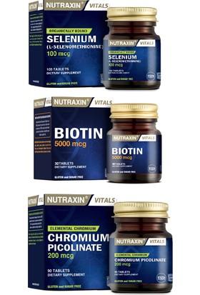Nutraxin Biotin 5000 Mcg 30 Tablet +Selenium 100 Mcg 100 Tablet+Krom Minerali Içeren Gıda Takviyesi 90 Tablet