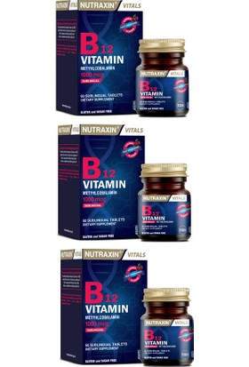 Vitamin B12 1000 Mcg 60 Dilaltı Tableti X3 Adet