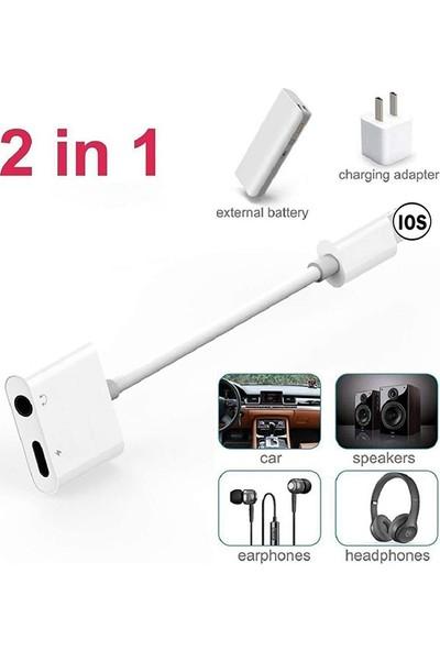 3.5mm Kulaklık ve Şarj Dönüştürücü Başlık Adaptör + Lightning Kablo