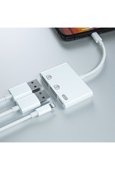 Ssmobil 3in1 Lightning To USB Kamera Okuyucu + Lightning Kablo
