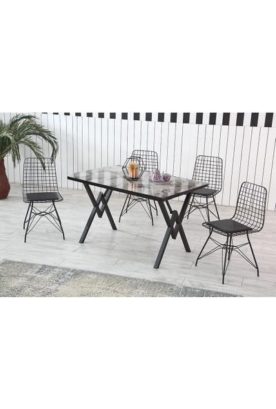 Dzdizayn Ayaz Tel Sandalyeli Mermer Desenli Beyaz Masa