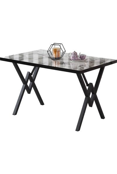 Dzdizayn Umay Metal Ayaklı Masa (Beyaz) 80 x 120 cm