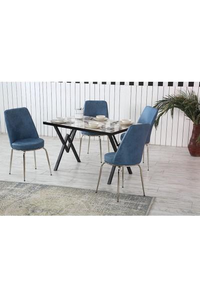 Dzdizayn Umay Beyaz Mermer Desen Masa & Mavi Kumaş Sandalyeli Set 80*120