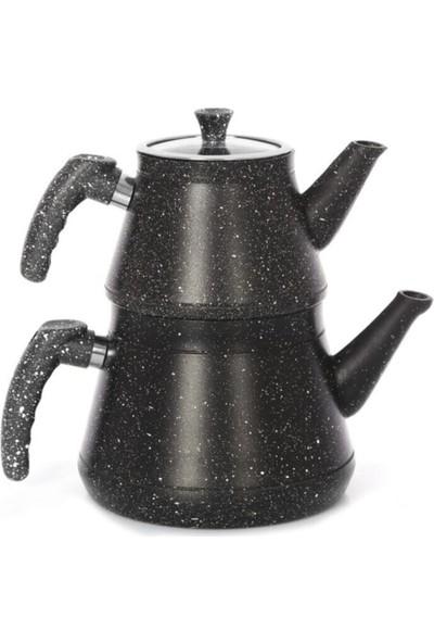 Aras Cook Granit Siyah Çaydanlık Seti