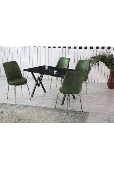 Dzdizayn Umay Siyah Mermer Desen Masa & Yeşil Sandalyeli Set 80*120