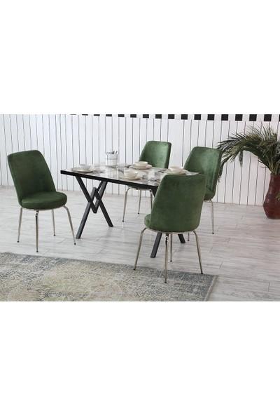Dzdizayn Umay Beyaz Mermer Desen Masa & Yeşil Sandalyeli Set 80*120