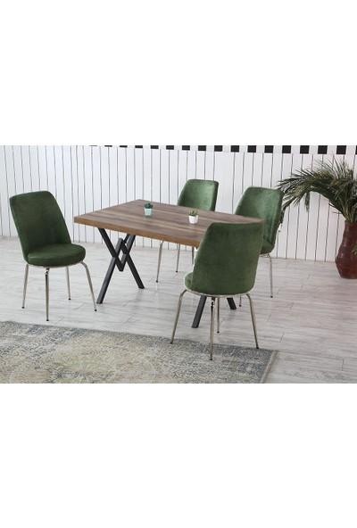 Dzdizayn Umay Ceviz Renk Masa & Yeşil Kumaş Sandalyeli Set 80*120