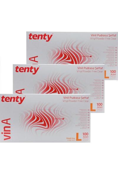 Tenty Vinil Eldiven Pudrasız (L) 100'LÜ Paket X3