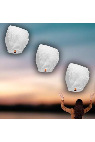 Süsle Bebek Parti Dilek Feneri, Dilek Balonu Beyaz - 3 Adet