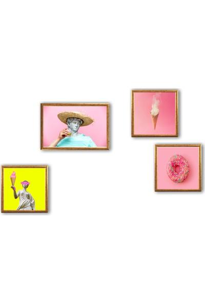 Ren House D'oh 4 Parça Çerçeveli Modern Renkli Pop Art Poster Tablo Seti - Kenar Boşluksuz