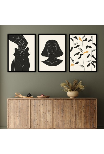 Ren House Boho Pet And Queen 3 Parça Çerçeveli Bohem Soyut Modern Poster Tablo Seti - Kenar Boşluksuz