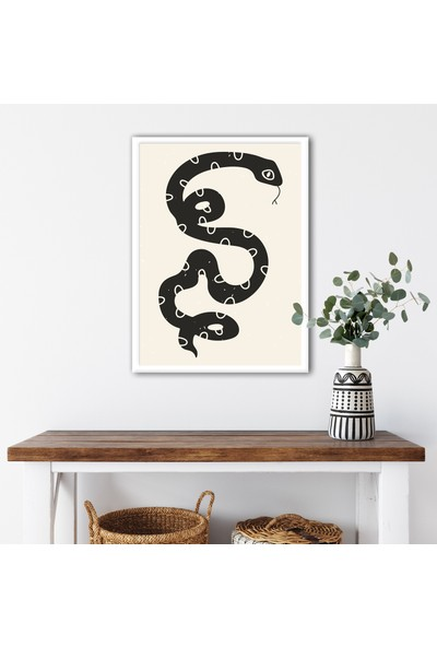 Ren House Boho Snake Çerçeveli Modern Bohem Poster Tablo - Kenar Boşluksuz