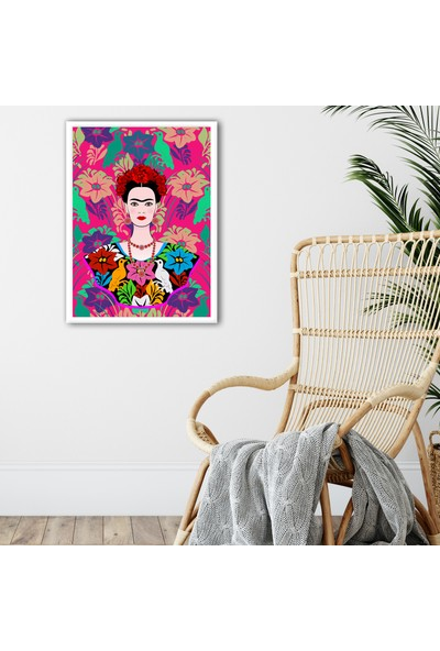 Ren House Frida 2 Çerçeveli Frida Kahlo Modern Poster Tablo - Kenar Boşluksuz
