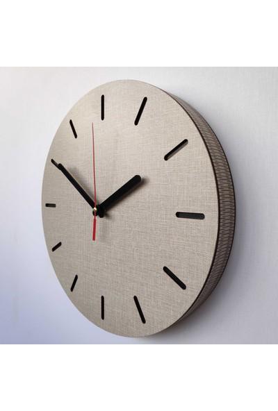 Desen Sanat Özel Seri Minimalist Ahşap Saat 30 x 30 cm Vizon