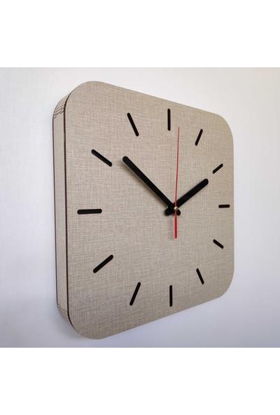 Desen Sanat Özel Seri Minimalist Ahşap Kare Saat 40 x 40 cm Vizon