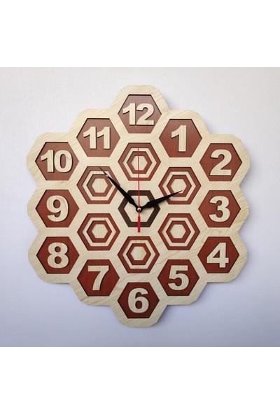 Desen Sanat Özel Tasarım Petek Duvar Saati 30 x 30 cm Akçaağaç