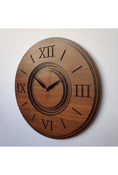 Desen Sanat Özel Tasarım Roma Damla Saat 30 x 30 cm Ceviz