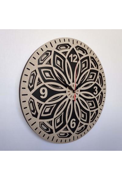 Desen Sanat Özel Tasarım Yaprak Saat 30 x 30 cm Vizon