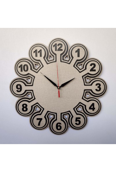 Desen Sanat Özel Tasarım Ahtapot Saat 50 x 50 cm Vizon