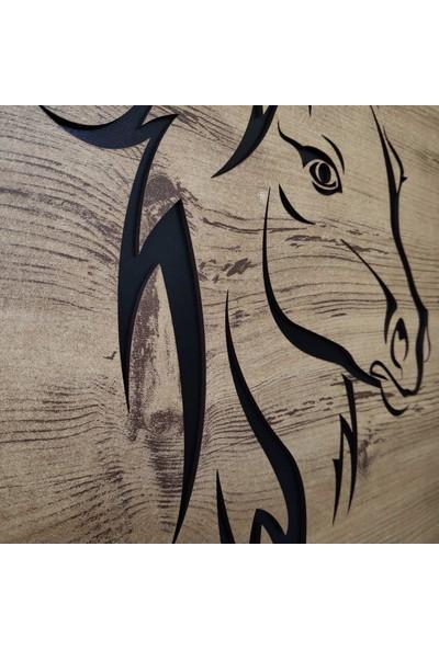 Desen Sanat Dekoratif Modern At Silüeti Duvar Panosu V1 53 x 80 cm Sütlü Kahve