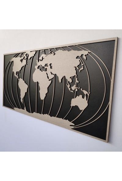 Desen Sanat Dekoratif Modern Dünya Haritası Duvar Panosu V1 80 x 40 cm Dokulu Gri