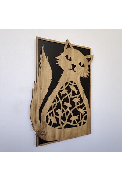 Desen Sanat Dekoratif Modern Balık Yiyen Kedi Duvar Panosu 57 x 80 cm Sütlü Kahve