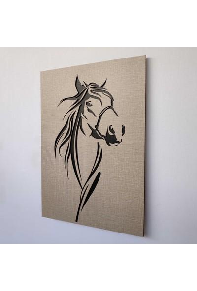 Desen Sanat Dekoratif Modern At Silüeti Duvar Panosu V3 28 x 40 cm Dokulu Gri