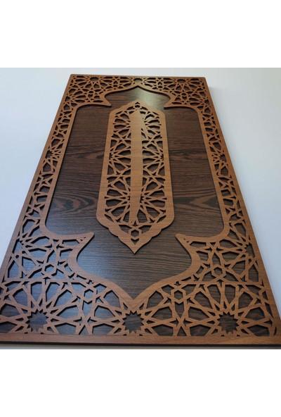 Desen Sanat Dekoratif Ahşap Desenli Elif Panosu 60 x 34 cm Ceviz Venge