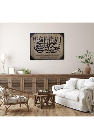 Desen Sanat Dekoratif Ahşap Hat Duvar Panosu V7 60 x 47 cm Siyah Keçe