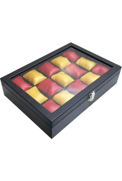Sultans 15LI Siyah Deri Kaplama - Ithal Sarı Kırmızı Yastıklı - Ahşap, Üzeri Cam Saat Kutusu
