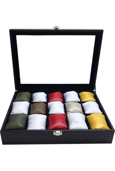 Sultans 15LI Siyah Deri Kaplama - Ithal Karışık Renkli Yastıklı - Ahşap, Üzeri Cam Saat Kutusu