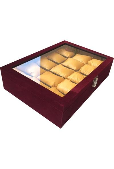 Sultans 15LI Bordo Süet Kaplama - Ithal Sarı Altın Yastıklı - Ahşap, Üzeri Cam Saat Kutusu