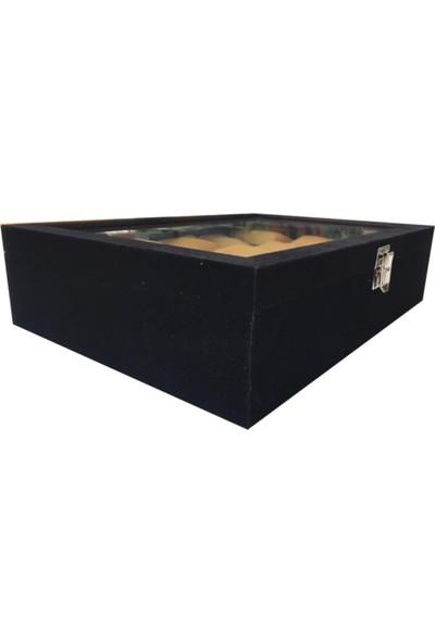 Sultans 15LI Siyah Süet Kaplama - Ithal Sarı Altın Yastıklı - Ahşap, Üzeri Cam Saat Kutusu
