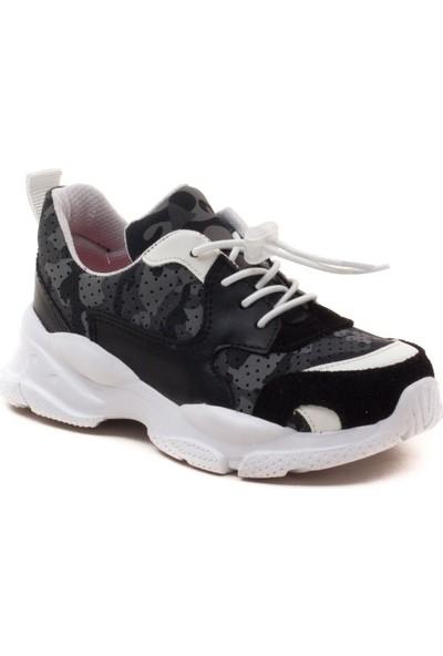 Minipicco Erkek Cocuk Siyah Deri Destekli Spor Ayakkabı