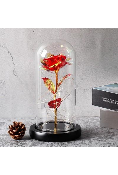 Hediye Sahibi Dekoratif Fosforlu Gül Tasarımlı LED Işıklı Cam Fanus 22CM*11CM