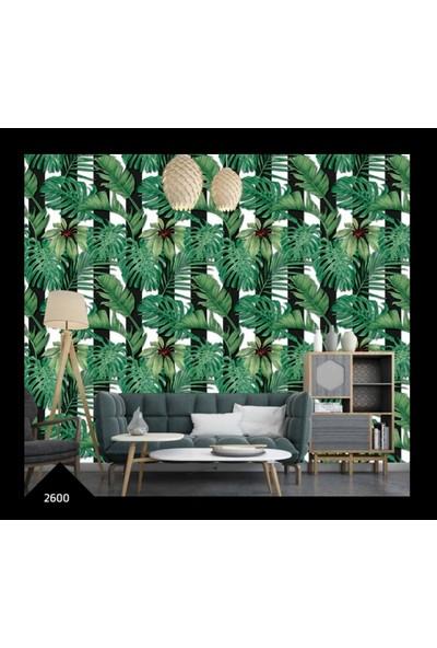 Oskar 2600 Tropikal Desenli Siyah Beyaz Çizgili Duvar Kağıdı(5m2)