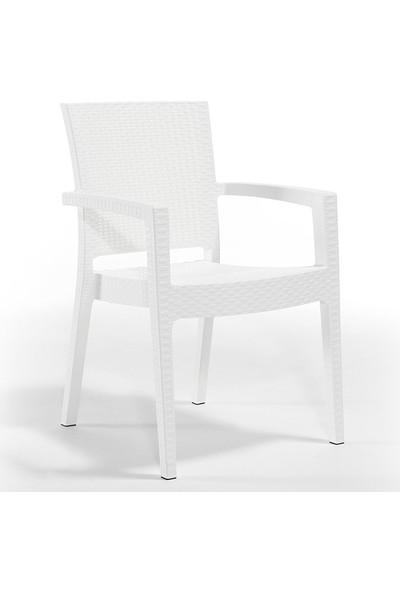 Beyaz Novussi Liverno Rattan Masa Koltuk Takımı 90X150 Camlı Masa