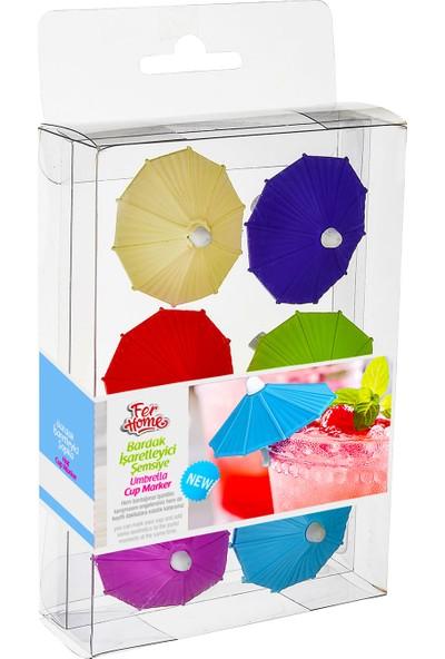 Ferhome Bardak işaretleyici Silikon Şemsiye 6'lı Set Renkli Ayırıcı