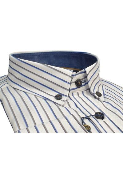 Kamer Reguler Fit Düğmeli Yaka Çizgili Beyaz Erkek Gömlek %60 Pamuk %40 Polyester Rahat Kalıp 1716E