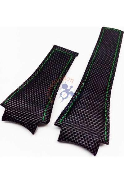 Tag Heuer Uyumlu Yeşil Dikişli Tekstil Deri Kordon