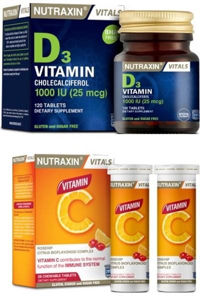 Nutraxin C Vitamini 28 Çiğneme Tableti ve D3 Vitamini 120 Tablet
