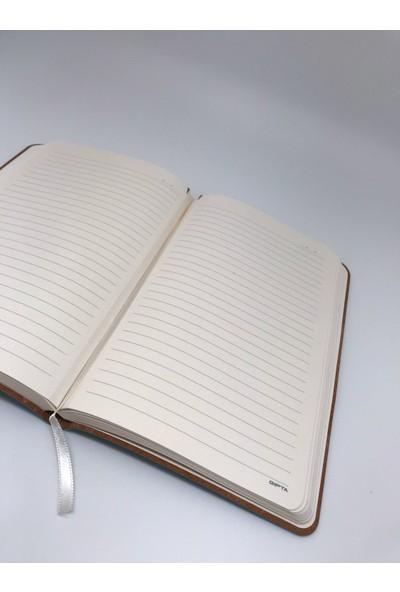 Gıpta Keepnotes Iplik Dikiş 120 Yaprak Deri Sert Kapak Çizgili Defter 13 x 21 cm Siyah